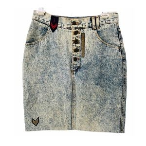 Vintage Y2K Acid Wash Denim Pencil Skirt Patches M